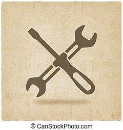 schraube, altes , symbol, treiber, maulschlüssel, ...