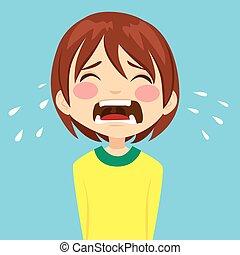 schreeuwende jongen, verdrietige