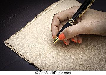 schreiben, über, papier, coffe