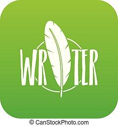 schreiben kugelschreiber, vektor, grün, ikone