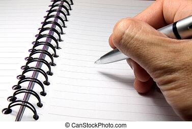 schreibende, auf, a, notizbuch