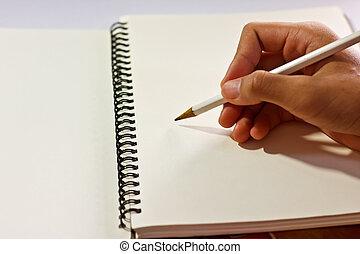 schreibende, buch, hand
