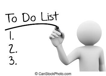 schreibende, durchsichtig, person, 3d, schirm, liste