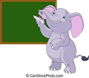 schreibende, elefant, tafel