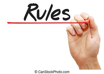 schreibende, geschaeftswelt, hand, begriff, regeln