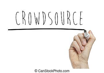 schreibende, hand, crowdsource