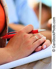 schreibende, konferenz, notizbücher, schueler, versammlung