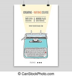 schreibmaschine, retro, plakat