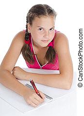 schreibt, writing-books, junges mädchen