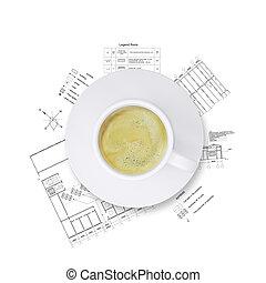 Architekt schreibtisch kaffeetasse zeichnung lampe for Schreibtisch 3d modell