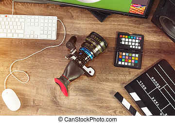 schreibtisch, kugel, von, a, modern, kino, fotoapperat