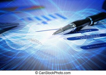 schreibtisch, tabellen, dokumente, diagramme