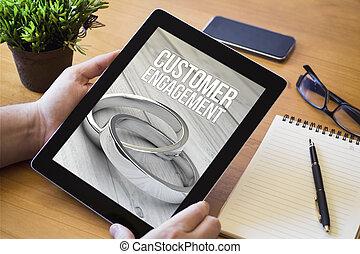 schreibtisch, tablette, kunde, verlobung