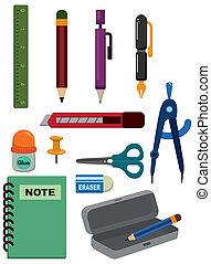schreibwaren, karikatur, ikone