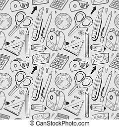 schreibwaren, muster, seamless, hintergrund
