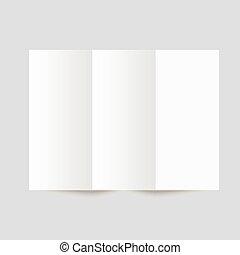 schreibwaren, papier, leer, broschüre, weißes, trifold