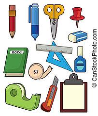 schreibwaren, satz, karikatur, ikone