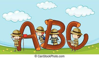 schriftart, abc, mit, kinder, in, boyscout, uniform