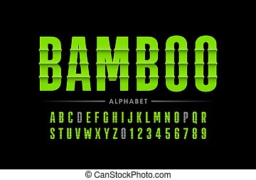 schriftart, bambus, stil