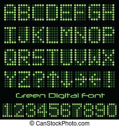 schriftart, grün, digital