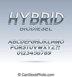 schriftart, hybride, silber, zahlen