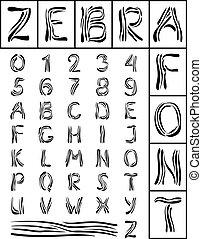 schriftart, zebra