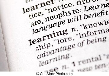 schriftliches wort, thesaurus, lernen
