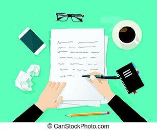 Begriff Brief Schriftsteller Schreiben Schreibtisch Papier