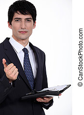 schrijf, agenda., over, zijn, zakenman