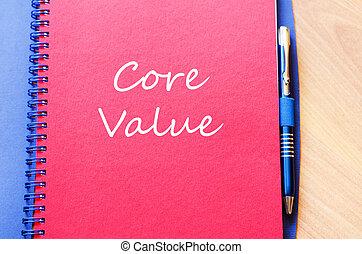schrijf, kern, aantekenboekje, waarde