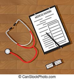 schrijf, medisch, patiënt, geschiedenis