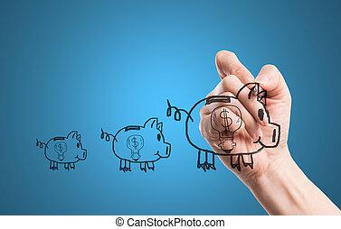 schrijf, piggy, geld