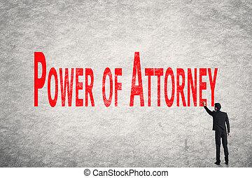 schrijf, woorden, op, muur, macht, van, advocaat
