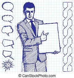 schrijf, zakenman, schets, plank, lege