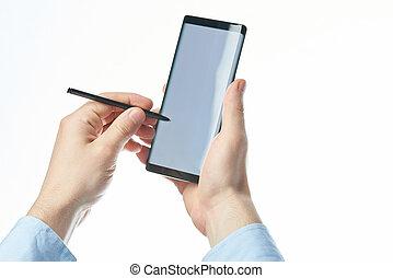 schrijfstift, gebruik, smartphone