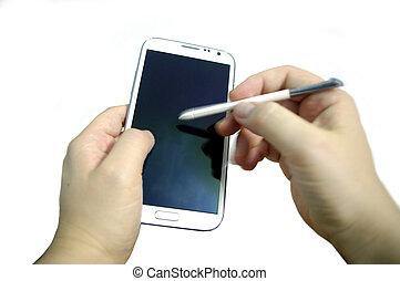 schrijfstift, pen, smartphones, hand het schrijven