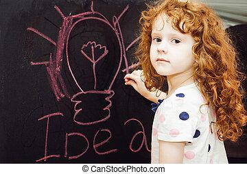 schrijft, blackboard., krijt, meisje, opleiding, concept.
