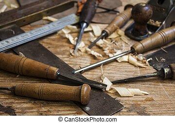 schrijnwerker, achtergrond, hout, gereedschap, meter, tafel, beitel