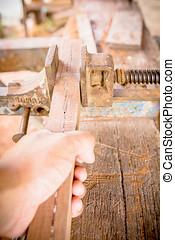 schrijnwerker, hout, gereedschap, tafel, achtergrond.