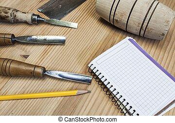 schrijnwerker, papier, achtergrond, hout, gereedschap, tafel, beitel, hamer