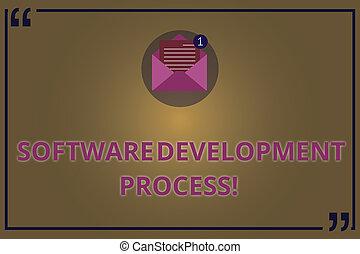 schrijvende , aantekening, het tonen, software, ontwikkeling, process., zakelijk, foto, showcasing, proces, van, ontwikkelen, een, software, product, open, enveloppe, met, papier, e-mail bericht, binnen, prijsopgave, mark.