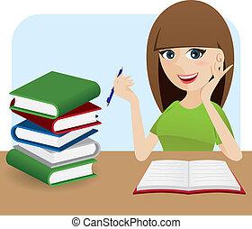 schrijvende , boek, tafel, meisje, spotprent, smart