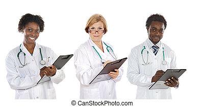 schrijvende , drie, team, artsen