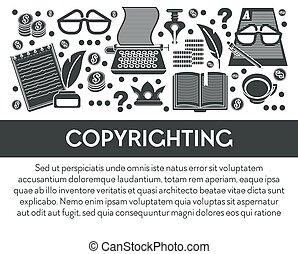 schrijvende , eigendom, copyrighting, gereedschap,...