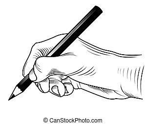 schrijvende , hand