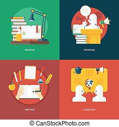 schrijvende , het spreken, eloquence, retorica, taal, set, ideas., lessons., kennis, lezende , art., concepten, ontwerp, opleiding, plat, illustratie