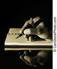 schrijvende , in, een, aantekenboekje