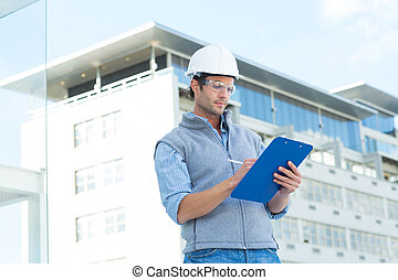 schrijvende , klembord, architect
