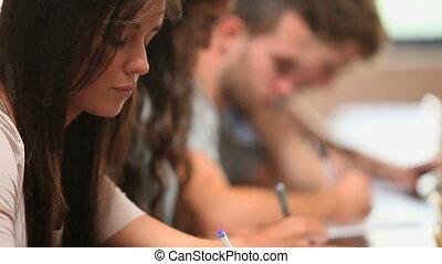 schrijvende , op, scholieren, afsluiten
