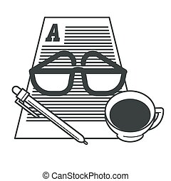 schrijvende , papier kop, koffie, storytelling, gereedschap,...